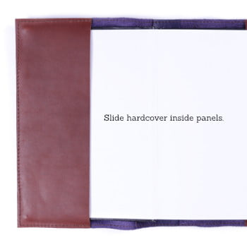 Hardcover notebook inside leather cover