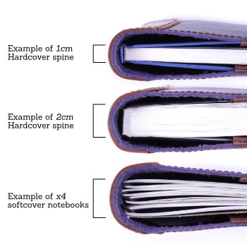 Leather cover spine width examples