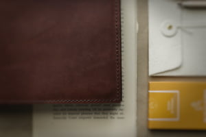 hand stitched leather cover for sketchbooks by helen mclean