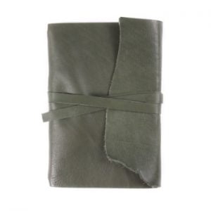 A5 Wrap – Tie Closure in Moss Leather Cover