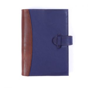 A5 Deluxe – Tab Closure in Indigo & Cognac Leather Cover