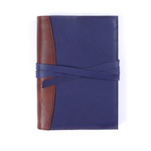 A5 Deluxe – Tie Closure in Indigo & Cognac Leather Cover