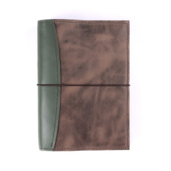 A5 The Library Moss Antique Brown Elastic leather cover