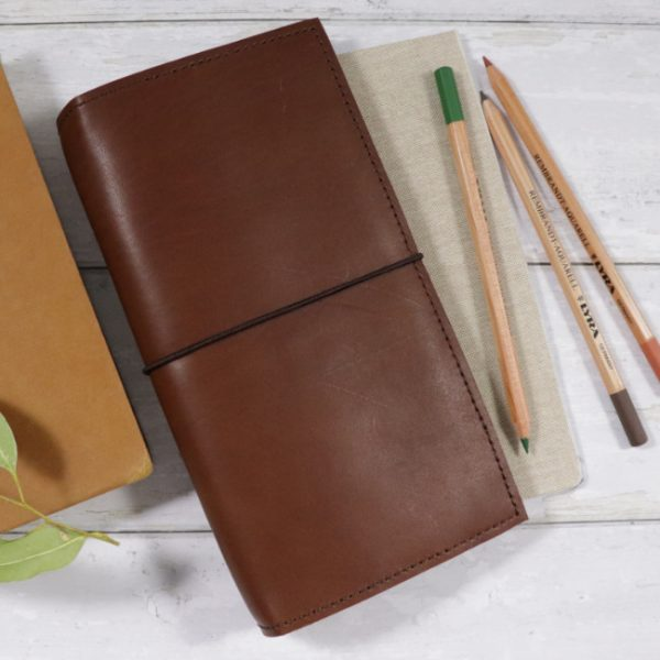 cognac leather notebook cover with elastic usage slim