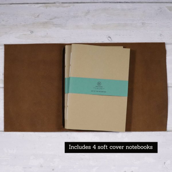 leather wrap notebook cover cognac open with softcover notebooks