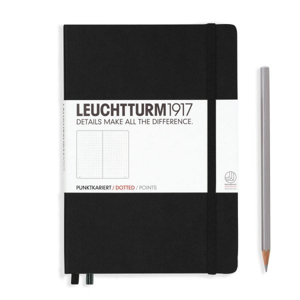 Black Leuchtturm Notebook Medium A5 Hardcover Dot Grid