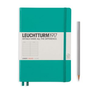 Emerald Leuchtturm Notebook Medium A5 Hardcover Ruled Lined