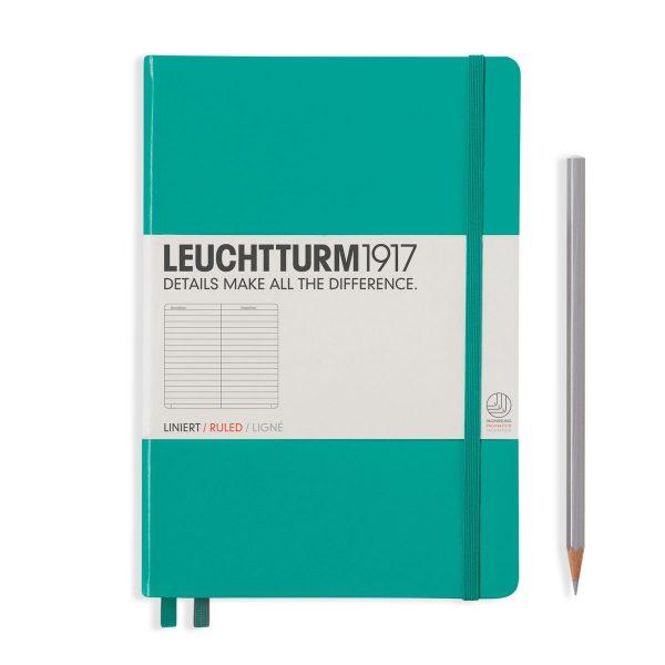 Emerald Leuchtturm Notebook Medium A5 Hardcover Ruled Lined