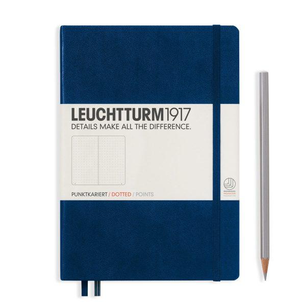 Navy Leuchtturm Notebook Medium A5 Hardcover Dot Grid