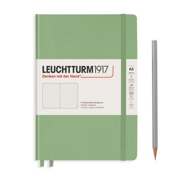 Sage Green Leuchtturm Notebook Medium A5 Hardcover Dot Grid