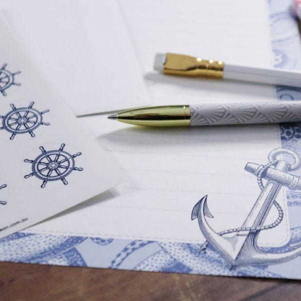 letter writing stationery nautical set