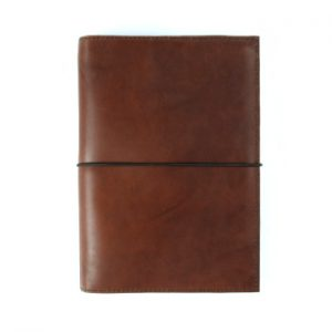 Moleskine Leather Cover – Elastic Closure in Cognac