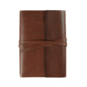 A5 Wrap – Tie Closure in Cognac Leather Cover with Notebooks