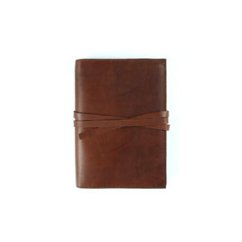brown leather cover with tie to suit A6 front