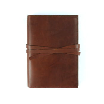 brown leather cover with tie to suit B6 front