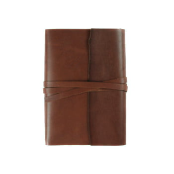 brown leather wrap cover with tie to suit B6 front