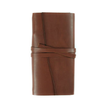 brown leather wrap cover to suit traveler notebooks front