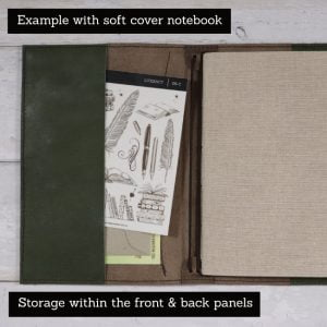 A5 Deluxe – Tab Closure in Moss & Antique Brown Leather Cover