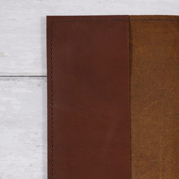 cognac leather notebook cover hand stitch detail