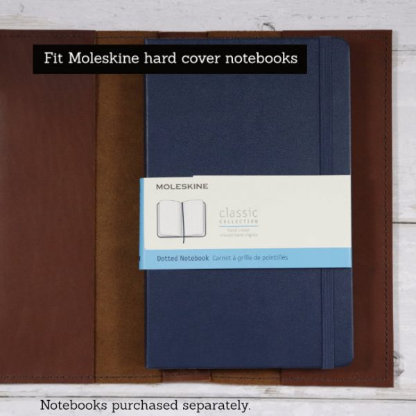 cognac leather notebook cover to suit moleskine notebook