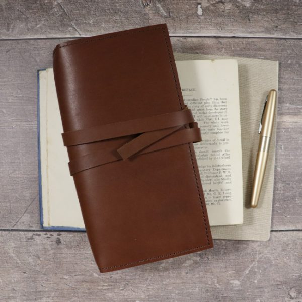cognac leather notebook cover with tie usage slim