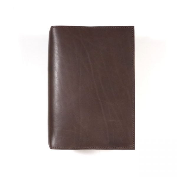 espresso leather notebook cover B6