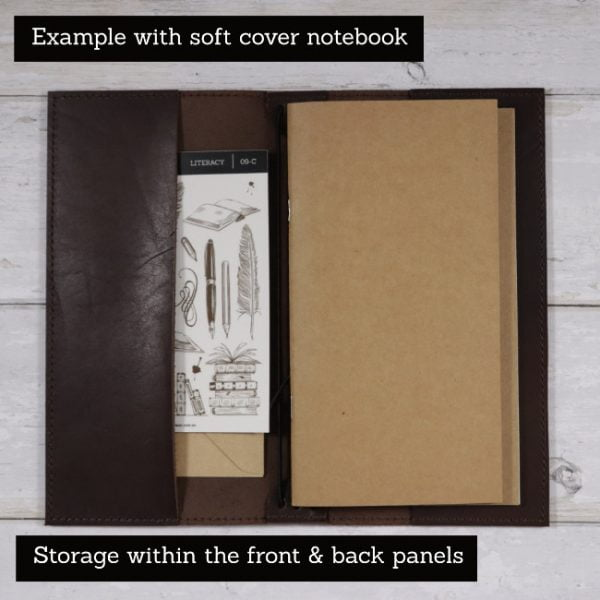 espresso leather notebook cover storage slim