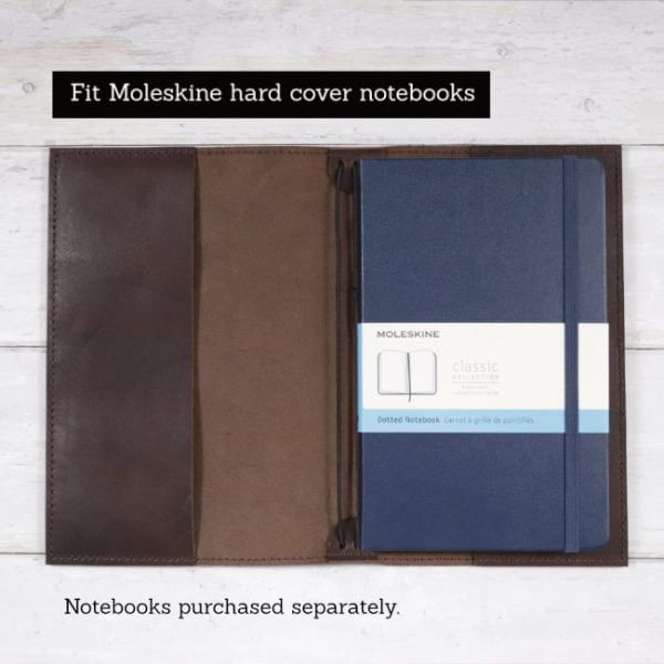 espresso leather notebook cover to suit moleskine hard cover