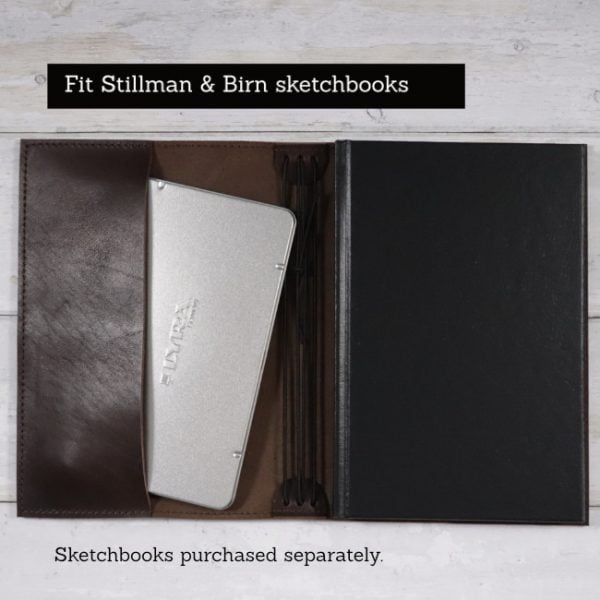 espresso leather notebook cover to suit stillman birn sketchbook