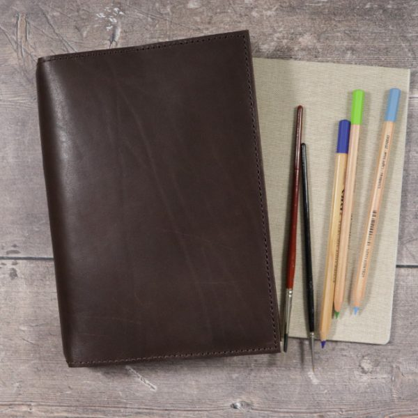 espresso leather notebook cover usage