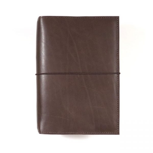 espresso leather notebook cover with elastic A5