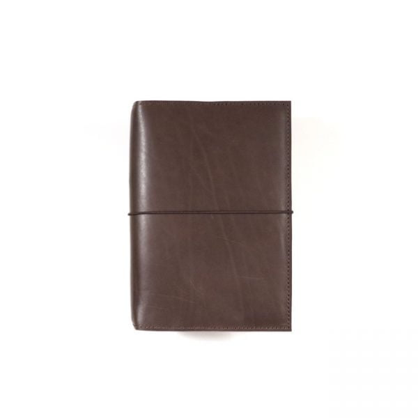 espresso leather notebook cover with elastic A6