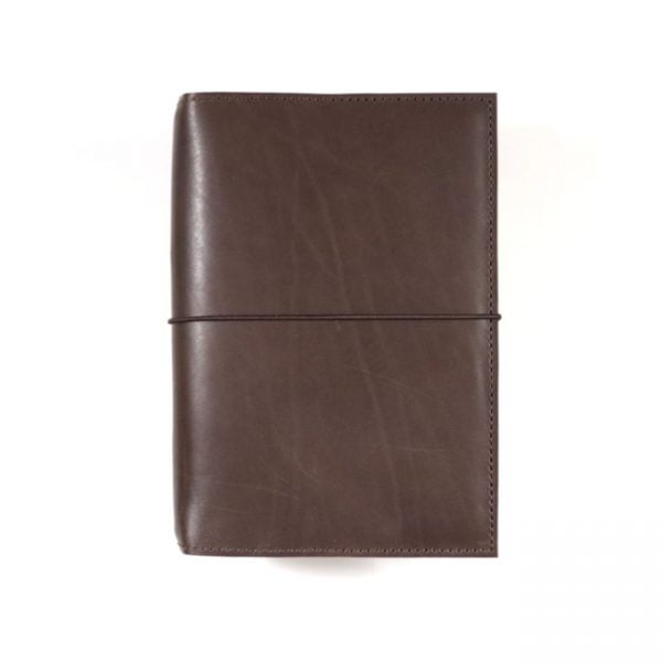 espresso leather notebook cover with elastic B6