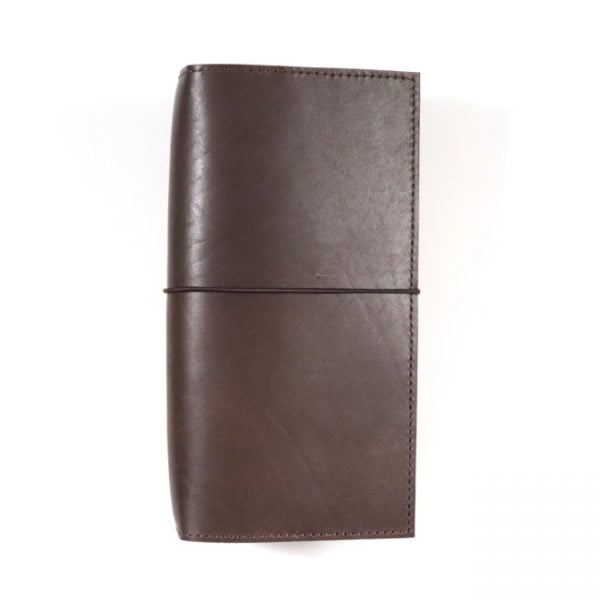 espresso leather notebook cover with elastic slim