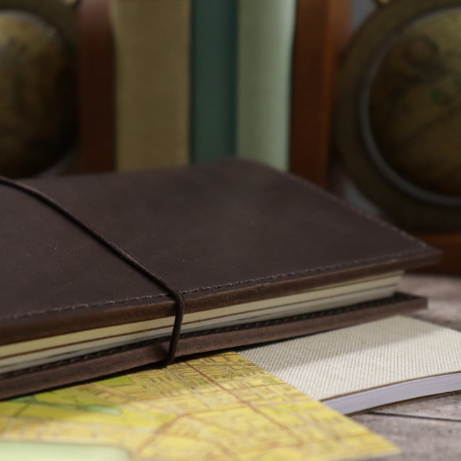 espresso leather notebook cover with elastic usage