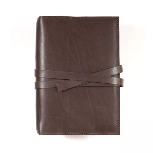 espresso leather notebook cover with tie A5