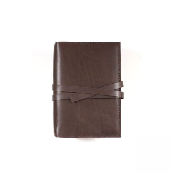 espresso leather notebook cover with tie A6