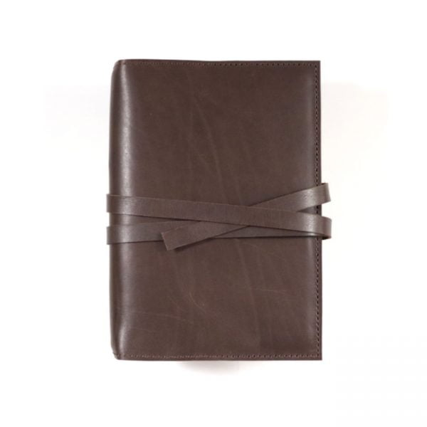 espresso leather notebook cover with tie B6