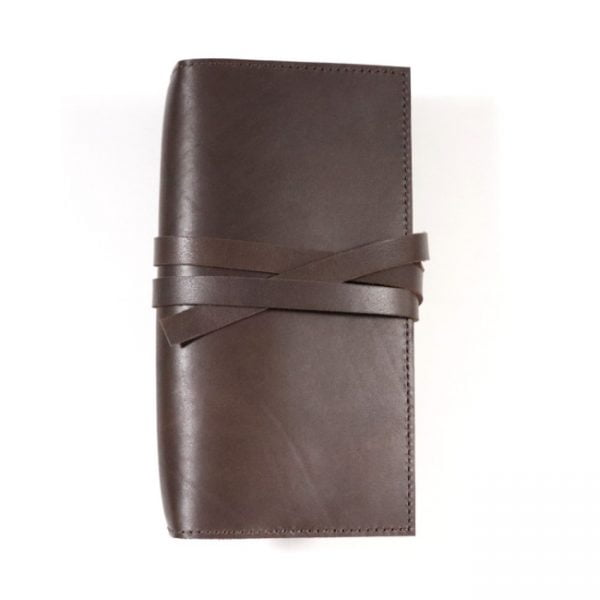espresso leather notebook cover with tie slim