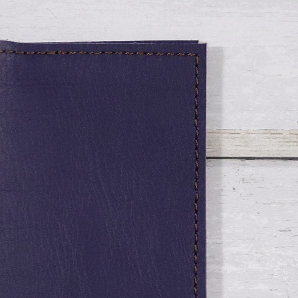 indigo leather notebook cover detail