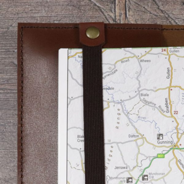 leather travel map planner cover detail 1