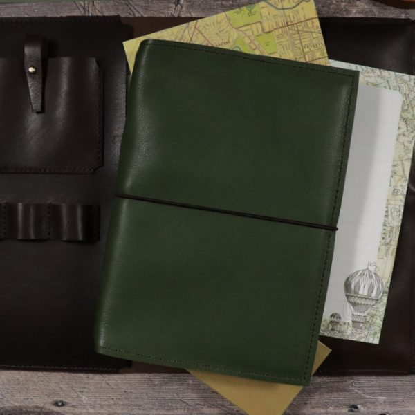 moss leather notebook cover with elastic usage