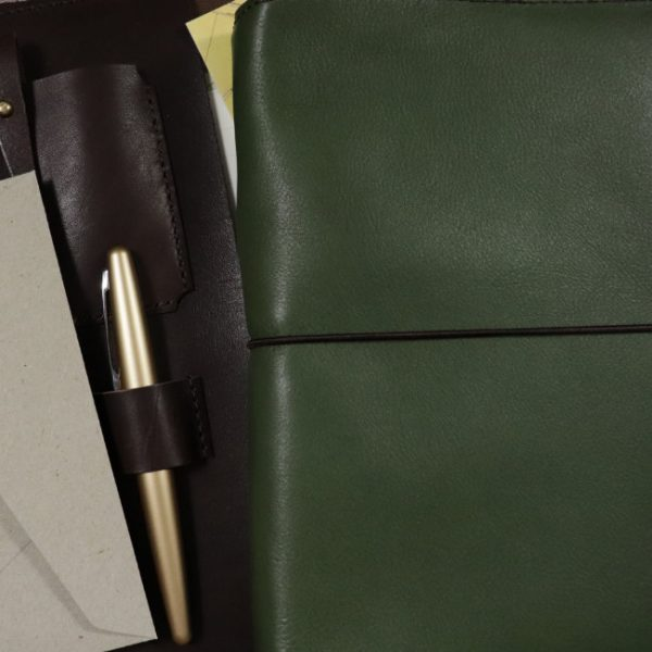 moss leather notebook cover with elastic usage slim
