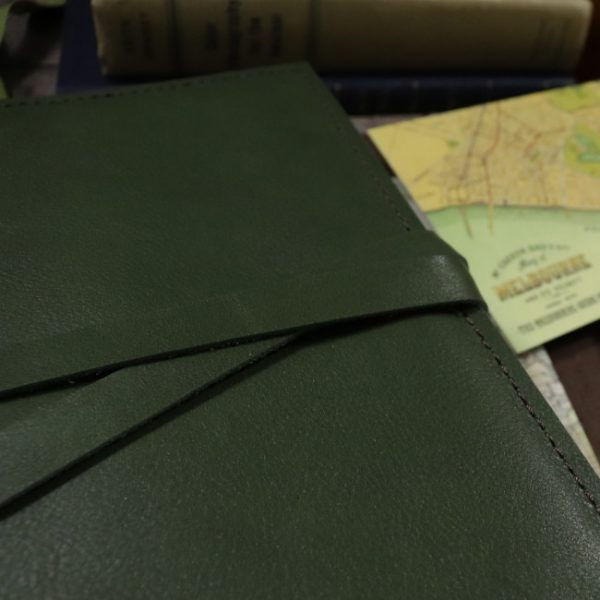moss leather notebook cover with tie usage slim