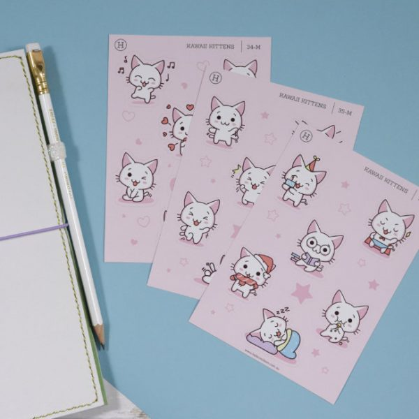 kawaii kittens 3 pack sticker sheet set