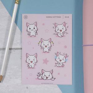 Kawaii Kittens (Happy) – Gloss Sticker Sheet