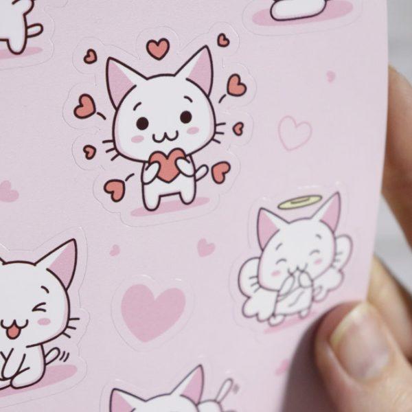 kawaii kittens love set close up