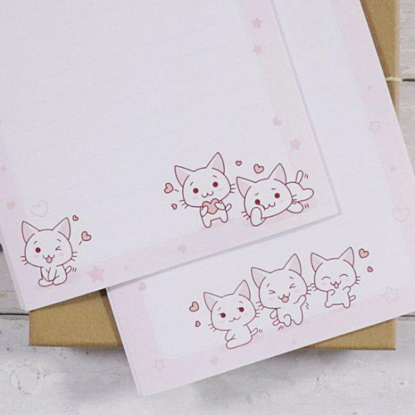 letter writing box set kawaii kittens close