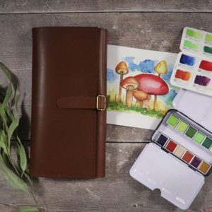 Light Leather Travel Art Set
