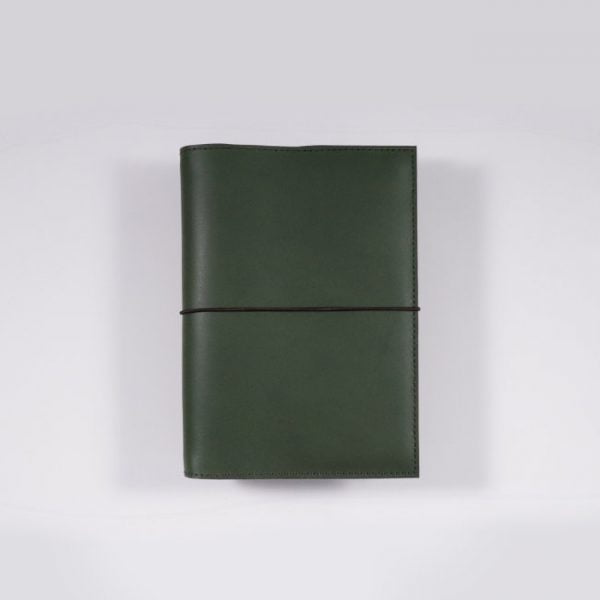 A6 leather notebook cover elastic forest